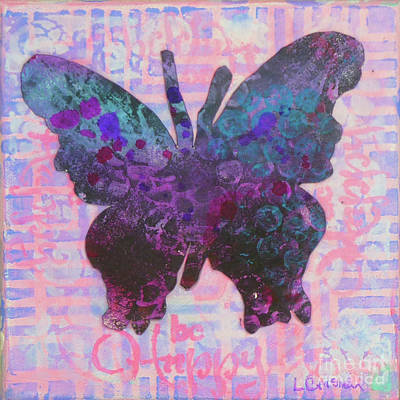 Mixed Media - Be Happy Butterfly by Lisa Crisman