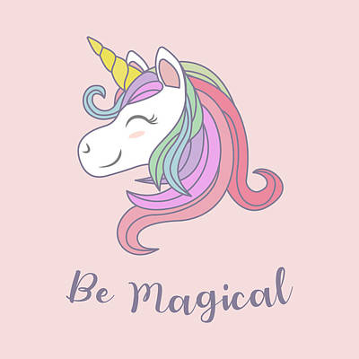 Drawing - Be Magical - Baby Room Nursery Art Poster Print by Dadada Shop