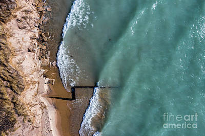Whimsical Flowers - Beach and Breakwall Aerial by Twenty Two North Photography