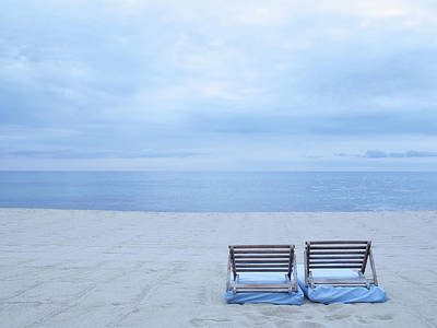 Lounge Chair Photograph - Beach And Chairs In St. Tropez, French by Ballyscanlon