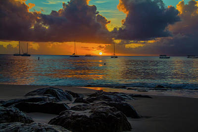 Art Print featuring the photograph Beach At Sunset by Stuart Manning