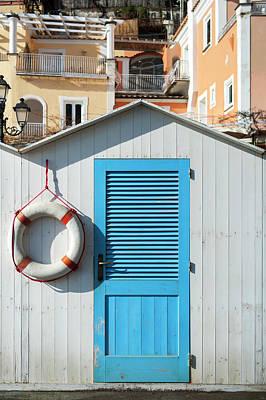 Beach Bathing Box And Life Buoy Art Print