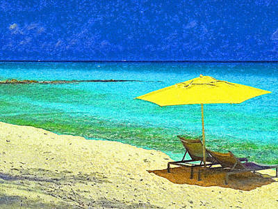 Travel Rights Managed Images - Beach Break on Bimini - Impressionism Royalty-Free Image by Island Hoppers Art