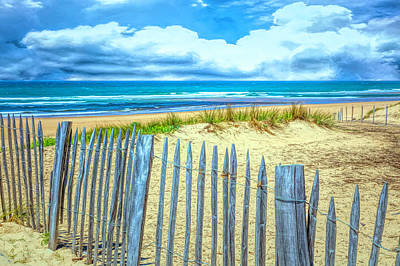 Photograph - Beach Fences On The Dunes In Blue by Debra and Dave Vanderlaan