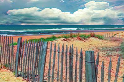 Photograph - Beach Fences On The Dunes In Watercolors by Debra and Dave Vanderlaan