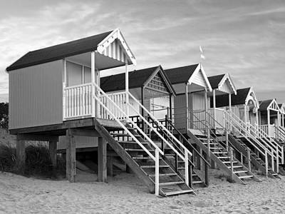 Photograph - Beach Huts Sunset In Black And White by Gill Billington