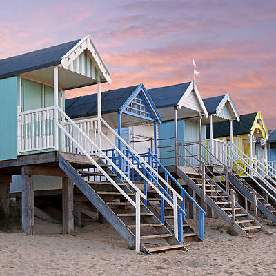 Photograph - Beach Huts Sunset Square by Gill Billington