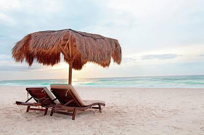 Palapas Wall Art - Photograph - Beach Lounge by M Swiet Productions