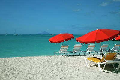 Antilles Photograph - Beach Sun Loungers And Sunshades by Onfilm