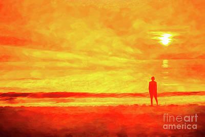Rustic Beach Decor Wall Art - Digital Art - Beach Sunset Wish You Were Here by Randy Steele