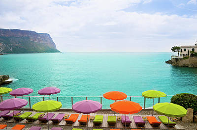 Photograph - Beach With Parasol In Cassis, France by Mmac72