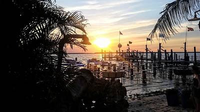 Photograph - Beachside Dock At Sunset by Lisa Bunsey