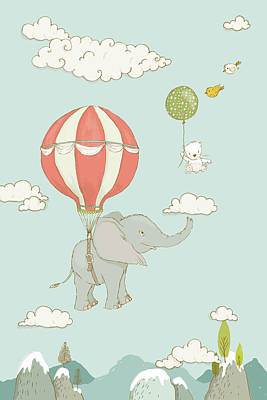 Art Print featuring the painting Floating Elephant And Bear Whimsical Animals by Matthias Hauser