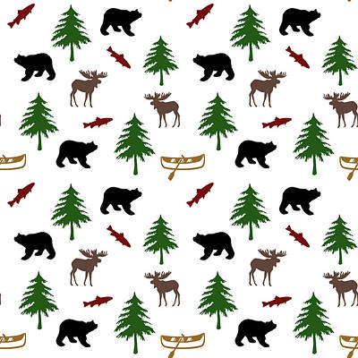 Mixed Media - Bear Moose Pattern by Christina Rollo