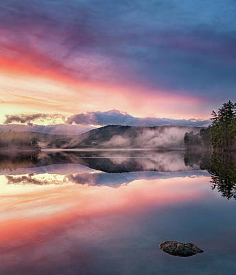 Photograph - Bear Pond Sunset With Fog Rolling In by Darylann Leonard Photography