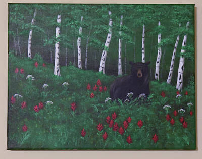Painting - Bear With Red Flowers by Gloria Johnson