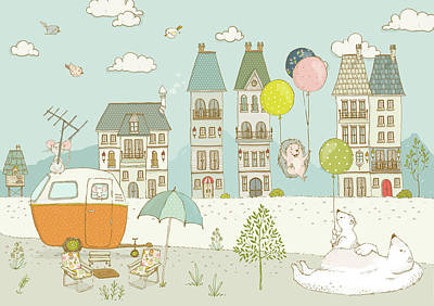 Art Print featuring the painting Bears And Mice Outside The City Cute Whimsical Kids Art by Matthias Hauser