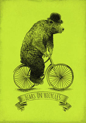 Green Drawing - Bears On Bicycles - Lime by Eric Fan