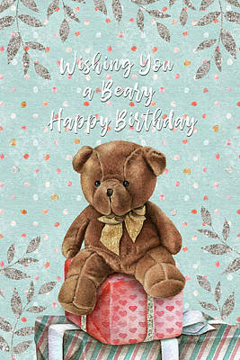 Mixed Media - Beary Happy Birthday - Kindness by Jordan Blackstone
