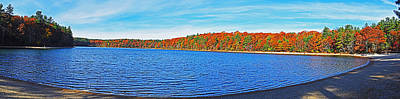 Photograph - Beautiful Autumn Colors On Walden Pond Pano Concord Ma by Toby McGuire