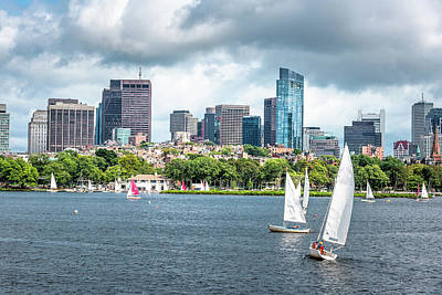 Comedian Drawings - Beautiful Boston Skyline from Charles River by Rod Gimenez