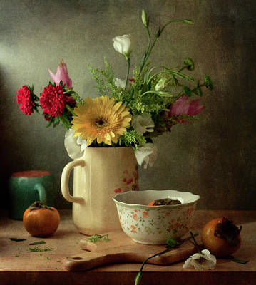 Photograph - Beautiful Flower Bouquet And Fruits by Copyright Anna Nemoy(xaomena)