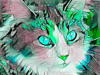 Surrealism Royalty-Free and Rights-Managed Images - Beautiful Green Stained Glass Kitty by Don Northup