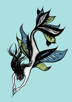 Animals Drawings - Beautiful Mermaid Drawn Tattoo Style In Black Blue Green by Boriana Giormova