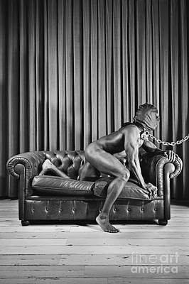 Photograph - Beautiful Naked Man With Mask Posing On A Sofa by William Langeveld