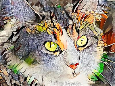 Recently Sold - Animals Digital Art - Beautiful Orange Stained Glass Kitty by Don Northup