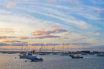 Photograph - Beautiful Red Clouds Over Newport Ri Pell Bridge At Sunset by Toby McGuire
