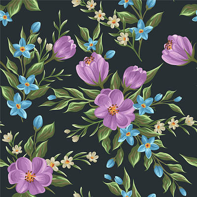 Painting - Beautiful Retro Flower Seamless Pattern by Freedesignfile