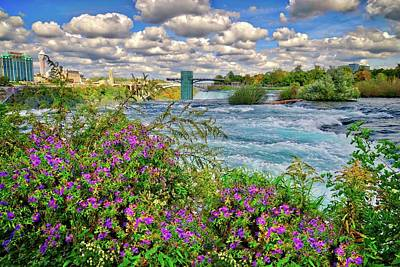 Photograph - Beautiful Skies And Wildflowers At Niagara Falls by Lynn Bauer