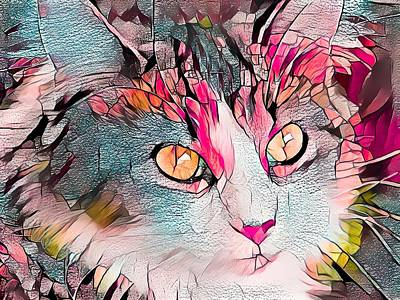 Recently Sold - Animals Digital Art - Beautiful Stained Glass Kitty by Don Northup