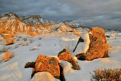 Photograph - Beautiful Sunset At Snowy Book Cliffs by Ray Mathis