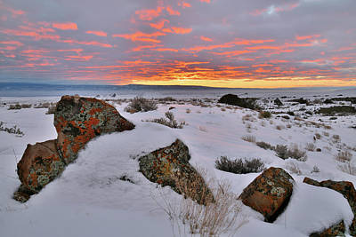 Photograph - Beautiful Sunset Over Snow Covered Book Cliffs by Ray Mathis