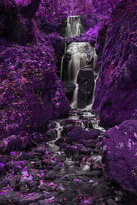 Surrealism Royalty-Free and Rights-Managed Images - Beautiful  surreal alternative color tall waterfall flowing over by Matthew Gibson