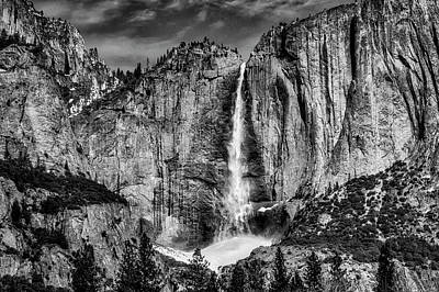 Photograph - Beautiful Upper Falls In Black And White by Garry Gay