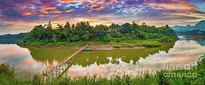Firefighter Patents Royalty Free Images - Beautiful view of a bamboo bridge. Laos landscape. Panorama Royalty-Free Image by MotHaiBaPhoto Prints