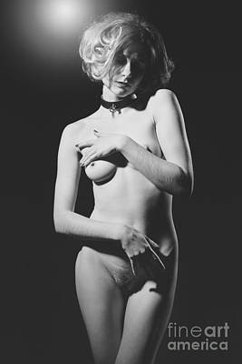 Photograph - Beautiful Woman Sensual Nude. Image With Old Film Grain Finish. by William Langeveld