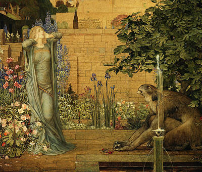 Of Roses And Love Wall Art - Painting - Beauty And The Beast by Joseph Edward Southall