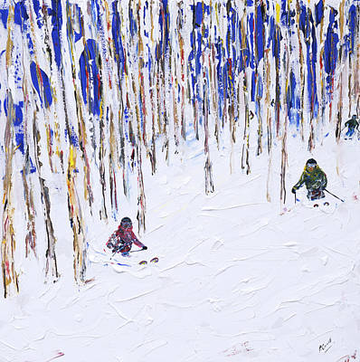 Colorado Ski Painting - Beaver Creek And Vail Ski Print by Pete Caswell