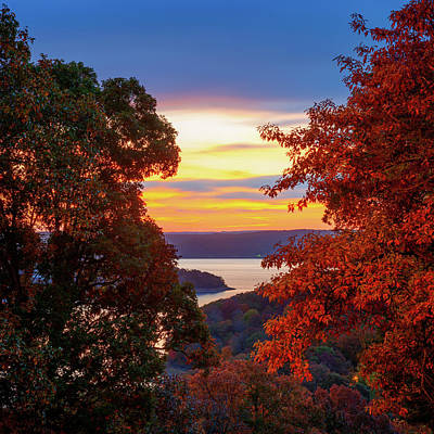 Watercolor Typographic Countries - Beaver Lake Autumn in the Arkansas Ozark Mountains by Gregory Ballos