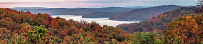 Photograph - Beaver Lake Autumn Landscape Panorama - Arkansas Ozark Mountains by Gregory Ballos