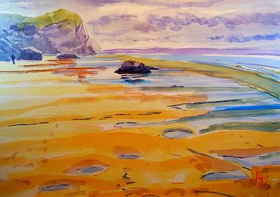 Painting - Bedruthan Steps Beach Cornwall Watercolour Painting by Mike Jory
