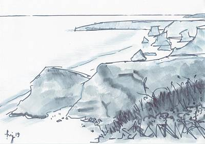 Drawing - Bedruthan Steps Beach In Cornwall Black And White Watercolor Sketch by Mike Jory