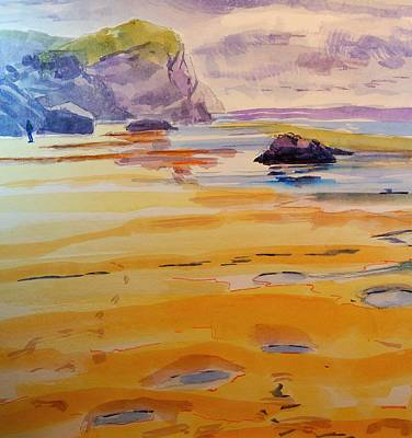 Painting - Bedruthan Steps Looking South by Mike Jory