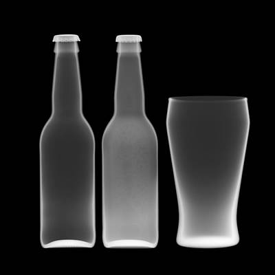 Photograph - Beer Bottles And Drinking Glass by Nick Veasey