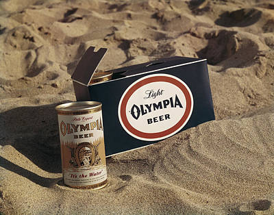 Photograph - Beer Tin And Box On Sand, Close-up by Tom Kelley Archive