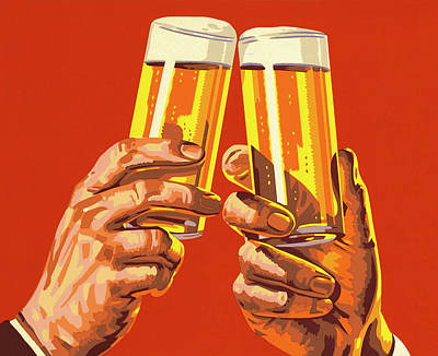 Holding Digital Art - Beer Toast by Csa Images